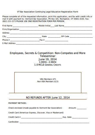 Legal Education Registration Form Sample