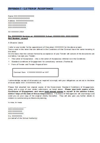 Letter of Acceptance Format