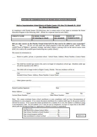 Letter of Termination for Home Education Program