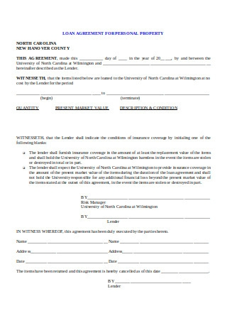 Loan Agreement for Personal Property