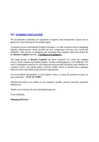 Logistic Introduction Letter