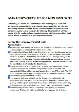 Managers Checklist For New Employees