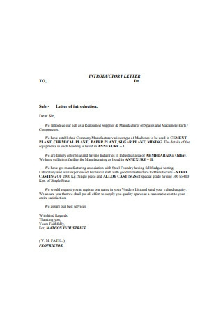 Manufacturer Business Introduction Letter