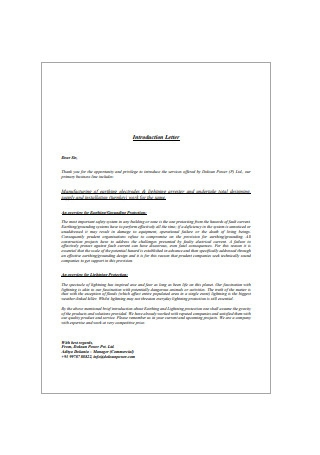 Manufacturing Business Introduction Letter