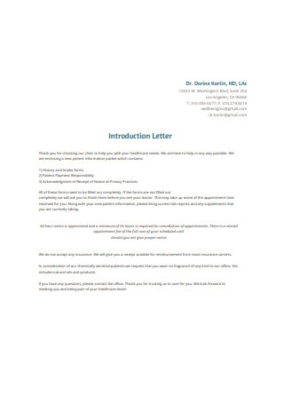 Medical Business Introduction Letter