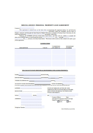 Miscellaneous Personal Property Loan Agreement
