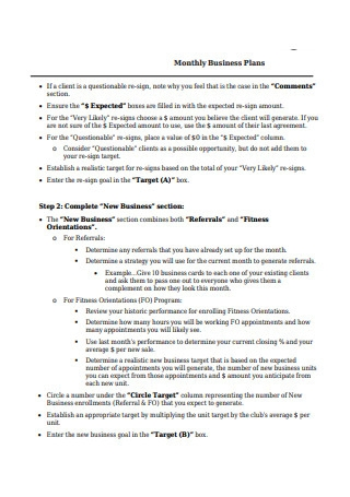 Monthly Business Plans Sample