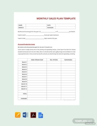 Monthly Sales Plan Sample