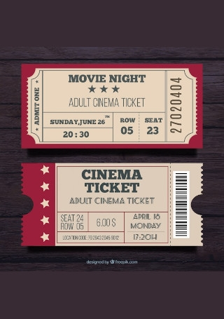 Movie Night Ticket in Vector EPS
