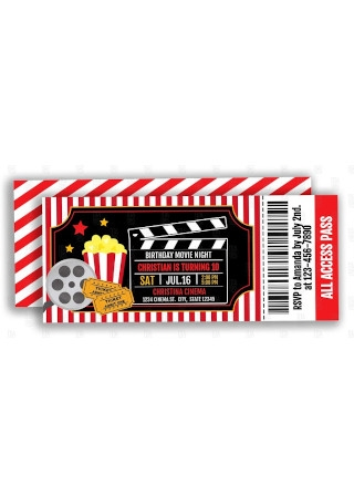 Movie Party Editable Ticket Invitation