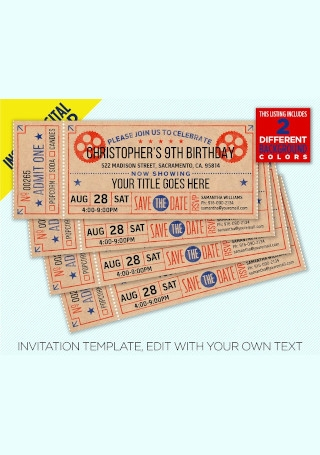 Movie Ticket Birthday Party Invitation InDesign