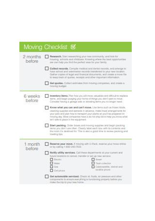 Moving Checklist Sample