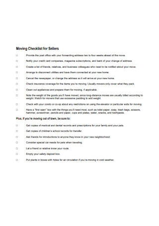 Moving Checklist for Sellers