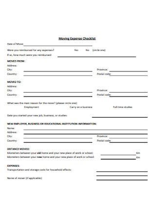 Moving Expense Checklist