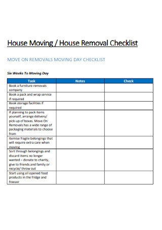 Moving House Checklist Sample