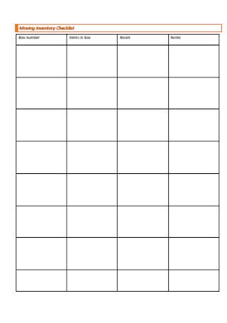 Moving Inventory Checklist