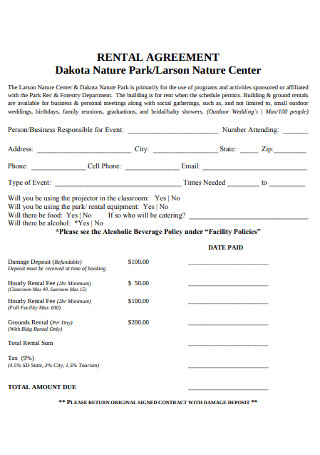 Nature Park Rental Agreement