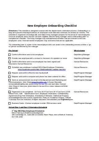 New Employee Onboarding Checklist Sample