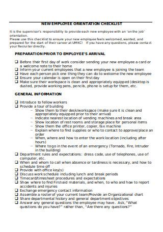 New Employee Orientation Checklist Format