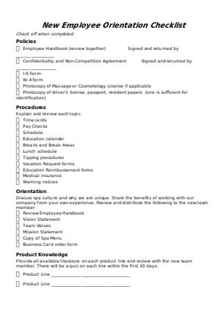 New Employee Orientation Checklist in DOC