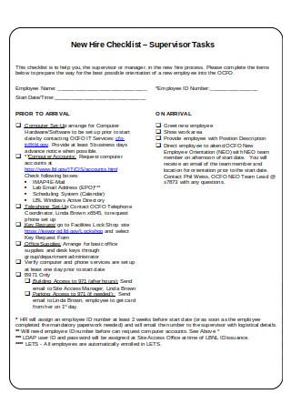 New Hire Checklist Format