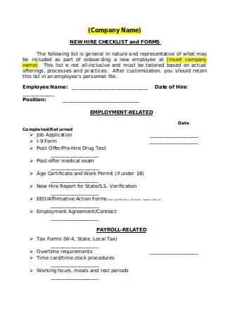 New Hire Checklist in DOC
