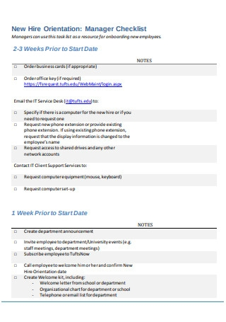 New Hire Orientation Manager Checklist