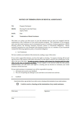 Notice Letter of Termination for Rental Assistance