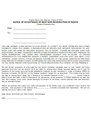 Notice of Acceptance Rent
