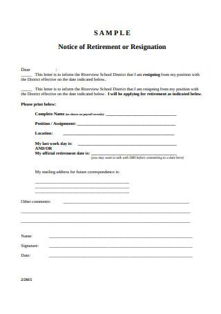 Notice of Retirement or Resignation