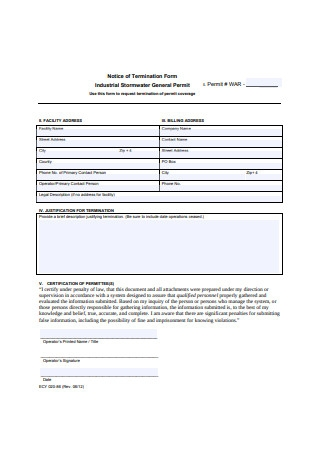 Notice of Termination Letter Form