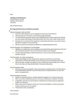 Sample Nursing Graduate Cover Letter