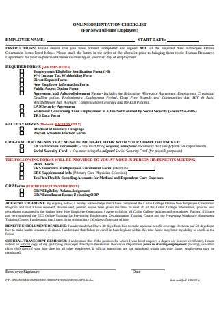 Online Orientation Checklist