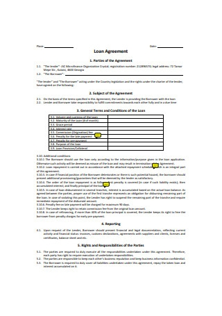 Organisational Loan Agreement