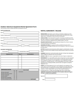 Outdoor Adventure Equipment Rental Agreement Form