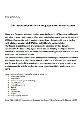 Packaging Business Introduction Letter