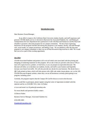 Partnership Business Introduction Letter