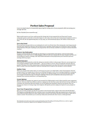 Perfect Sales Proposal