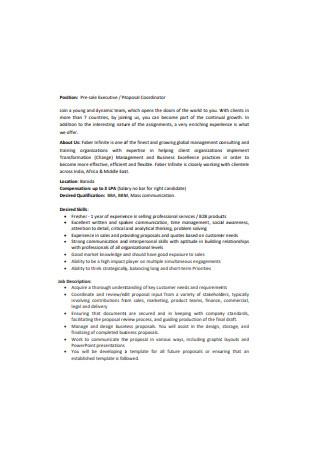 Pre Sale Executive Proposal