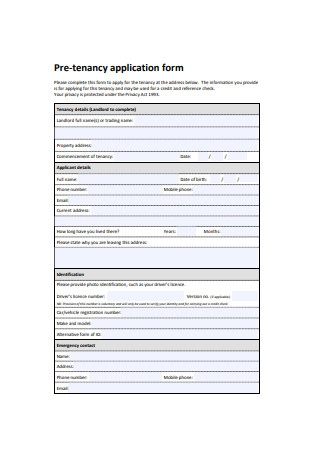 Pre Tenancy Residential Application Form