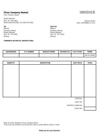 Printable Invoice
