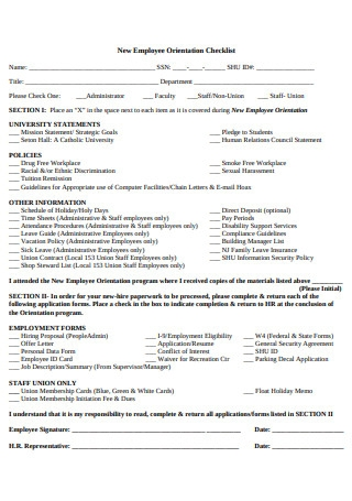 Printable New Employee Orientation Checklist