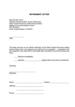 Printable Retirement Letter