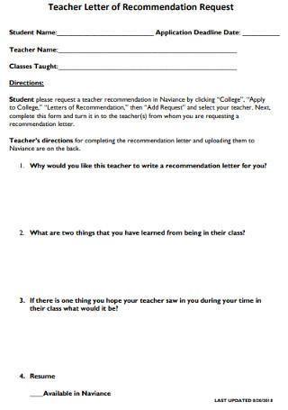 Printable Teacher Letter of Recommendation