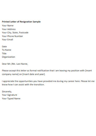 Printed Letter of Resignation Sample