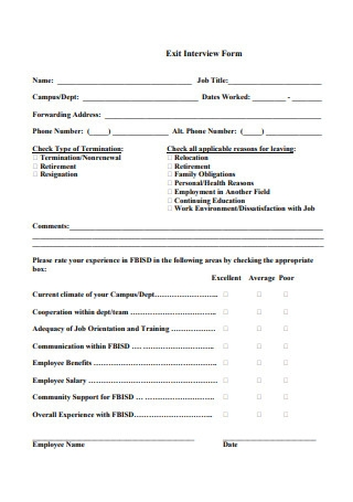 Professional Exit Interview Form