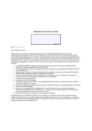 Prospective Tenant Rejection Letter