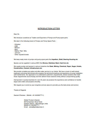 Pumps Business Introduction Letter