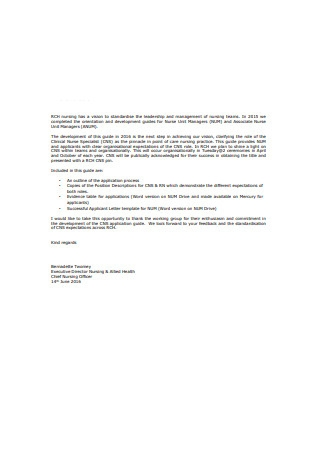 Registerd Nurse Letter of Recommendation Sample
