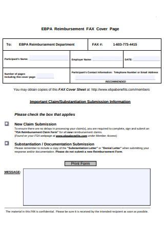 Reimbursement FAX Cover Page